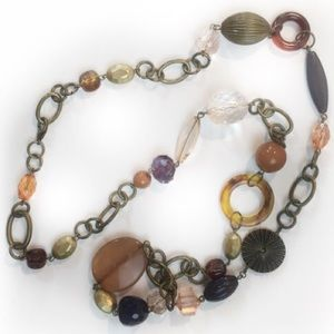 Chunky Mixed Beads & Metals Long Loft Necklace